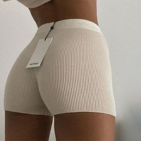 2020 new solid color knitted boxer straight shorts
