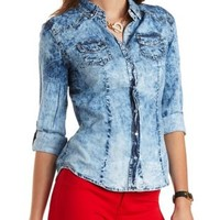 Acid Wash Chambray Button-Up Top by Charlotte Russe - Lt Blue Combo