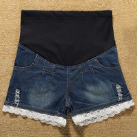 Denim Lace Embellished Maternity Shorts