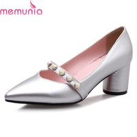 MEMUNIA spring autumn new fashion string bead ladies shoes thick high heels pointed toe solid women pumps big size 34-43