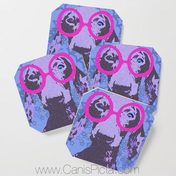 Nerdachshund COASTERS Mug Cup Drink Beverage Place Holder Pop Culture Art Cute Dachshund Doxie Blue Hot Pink Neon Stars Bright Fun Long Dog