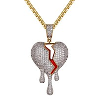 Mens Hip Hop Cracked Dripping Heart Gold Finish Pendant