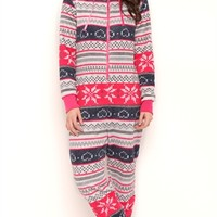 Plush Onesuit with Fair Isle Print and Hood