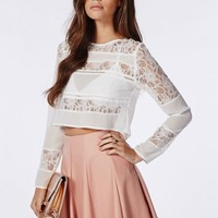Missguided - Lace Panel Blouse White