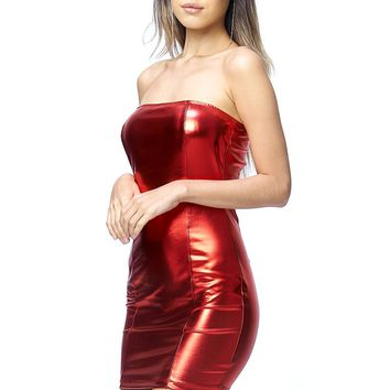 Starlight Red Metallic Strapless Mini Dress