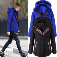 Elegant Womens Winter Parka Plaid Hooded Thick Slim Coats Ladies Jackets S-2XL = 1930436868