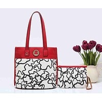 TOUS Women Fashion Leather Shopping Bag Handbag Clutch Bag Shoulder Bag Set Two Piece