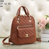 2018 new women's backpack plaid casual travel backpack #4