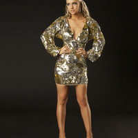 Gold Sequin Kimono Style Long Sleeve Homecoming Dress - Unique Vintage - Cocktail, Pinup, Holiday & Prom Dresses.