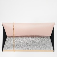 New Look Glitter Metal Bar Edge Clutch Bag at asos.com