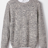 Cable Knit Ribbed Trim Sweater