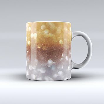 The Unfocused Silver and Gold Glowing Orbs of Light ink-Fuzed Ceramic Coffee Mug