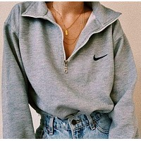 NIKE new small turn hook sweater embroidery zipper lapel loose casual fashion pullover sweater