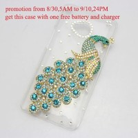 bling 3D clear case light blue peacock diamond rhinestone hard skin cover for HTC new one m7 LTE