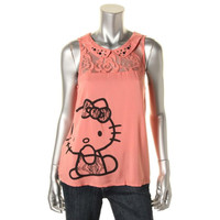 Hello Kitty Womens Juniors Embellished Lace Trim Tank Top