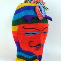 Hand Knit Peruvian Festival Mask, Mohawk with red face