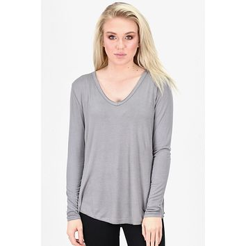 Loose Fit V-neck L/S Basic {Grey} - Size LARGE