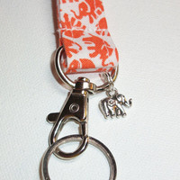 Lanyard / ID Holder with key ring and CHARM - Orange or Green Elephants
