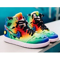 "J BALVIN x AIR JORDAN 1 ""Colores J Balvin"" high-top sports running shoes"