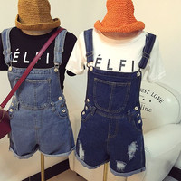 Women's Old Washed Jeans Overall Shorts