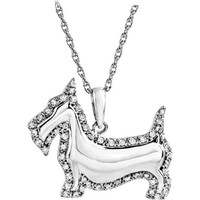 "ASPCA Tender Voices® Sterling Silver 1/4 CTW Diamond Scottish Terrier Dog 18"" Necklace"