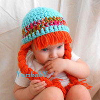 Baby Hats Photo Props Baby Costumes Teal Orange Pigtail Wig