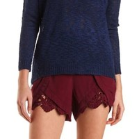Lace-Trim High-Waisted Tulip Shorts by Charlotte Russe