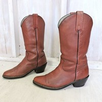 Frye boots 11 D Mens / Vintage 80s Frye USA cowboy boots /  brown western boots