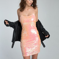 Sky Fall Dress in Coral Blush Sequin by Motel