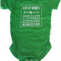 Eat At Mom's Baby Onesuit {Green Apple}