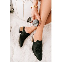 I'm Fine Heeled Mule Slides (Black)