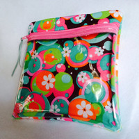 """Vinyl see through padded zippered case is versatile and is 7 1/2"""" x 7 3/4"""". Teal pink green brown white cotton fabric."""