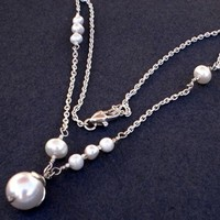 White Freshwater Pearl Necklace, Fine silver Floral Bridesmaid necklace Wedding