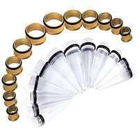 BodyJ4You Stretching Kit Clear Taper Stainless Steel Gold Tunnel Plug 00G-20mm Big Gauges Set 24PCS