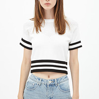FOREVER 21 Striped Raglan Sweater White/Black