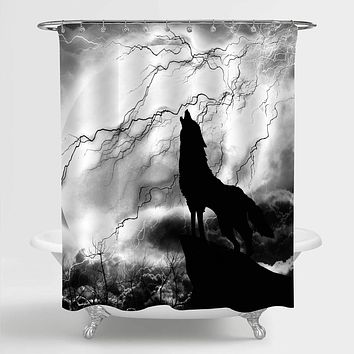"""MitoVilla Solitary Wolf with Full Moon Shower Curtain for Bathroom Decor, Wild Animal Wolf Standing on The Peak Howling to Thunderstorm Silhouette Bathroom Accessories, Black White, 72"""" W x 78"""" L Pattern 14"""
