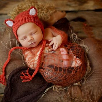 Infant born Photography Props Cute Fox Baby Hat Crochet Accessories Handmade