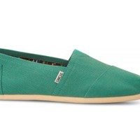 TOMS Baltic Green Canvas Men's Classics Slip-On Shoes,