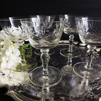Vintage Champagne Coupes, 5 Cut Prosecco Glasses, Wedding Toast, Vintage Stemware, Cocktail Glassware, Sparkling Wine Glass