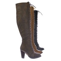 Camila48 Over Knee High Heel Combat Boot - Women Fashion Military Lace Up Shoe