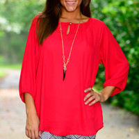 Never Look Back Blouse, Red