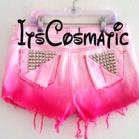 OMBRE Shorts- Studded back pockets - HOT PINK  - In Your Size