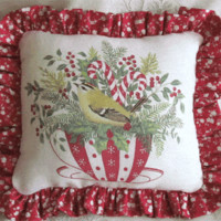 Holiday Tea Cup Accent Pillow
