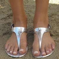 Silver metallic sandal from Chockers Shoes