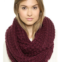 Wine Red Chunky Hand Knitted Snood - Choies.com