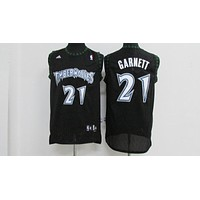 Classic NBA Basketball Jerseys Minnesota Timberwolves #21 Kevin Garnett Black