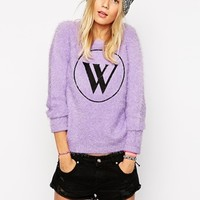 Wildfox Oversized Jumper In Fluffy Fabric With Front Logo