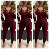 Women Jumpsuit Tie Up Deep V Neck 2016 Autumn Winter Lace Up Rompers Knitting Grey Red Black Bodysuits Pockets Belt Long Sleeve