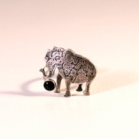 Circus Elephant Ring with Blue Sapphire- Sterling Silver- Antique Patina Finish- Various Sizes Available- Etching- Animal Lover