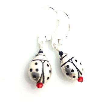 Ladybug Earring, Silver Lady Bug, Ladybug Jewelry, Insect, Silver Ladybird Earrings, Ladybird Jewelry, Cute Silver Earring, Silver and Red